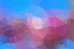 Abstract geometric background. Blue and pink abstract geometric background consisting of colored triangles stock illustration