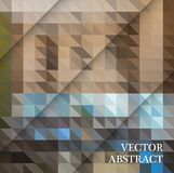 Abstract geometric background from brown and gray triangles, with sample text. Vector design Stock Images