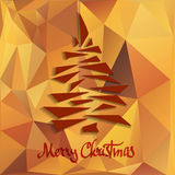 Abstract geometric background. Christmas tree on orange abstract geometric background Stock Illustration