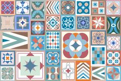Abstract geometric background. Colorful composition with floral and geometrical ornaments Royalty Free Stock Image