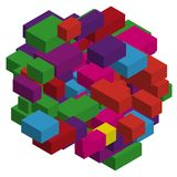 Abstract geometric background with colorful isometric rectangles and bricks. Three-dimensional, 3D vector illustration. Purple, violet color Stock Photos