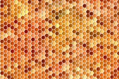 Abstract  geometric background of colorful orange hexagons in honey combing pattern. Abstract colorful background of mosaic hexagons pattern in orange colors Stock Photography