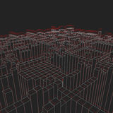 Abstract geometric background - 3d illustration. Wireframe. Perspective. Royalty Free Stock Photography