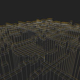 Abstract geometric background - 3d illustration. Wireframe. Perspective. Royalty Free Stock Photos