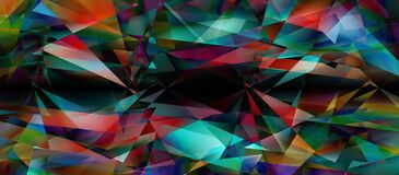 Abstract geometric background for design. Many colorful triangles in a chaotic mess. Panoramic background