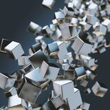 Abstract geometric background with floating stack of metal cubes. 3D render vector illustration