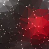 Abstract geometric background. Abstract geometric gary and red background consisting of colored triangles with lights in corners. Low poly square format pattern Stock Image