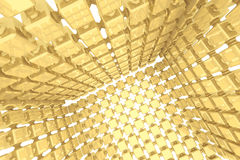 Abstract geometric background with golden cubes Stock Photos