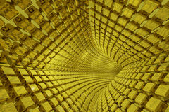 Abstract geometric background with golden tunnel Royalty Free Stock Images