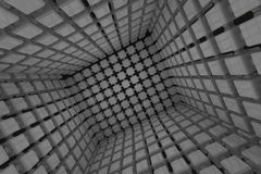 Abstract geometric background with gray cubes going to perspective Royalty Free Stock Image