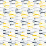 Abstract geometric background. Gray-yellow dotted cubical pattern, horizontal hexagons, vector illustration stock illustration