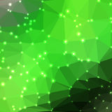 Abstract geometric background. Abstract green geometric background consisting of colored triangles with lights in corners. Low poly square format pattern Stock Photos