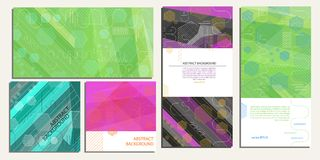 Abstract geometric background of hexagons, lines, stripes and ovals in different uses vector EPS 10.  Stock Photos