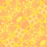 Intricate squares pattern with wavy lines yellow on orange diagonally. Abstract geometric background. Intricate squares pattern with wavy lines in yellow shades Royalty Free Stock Photos