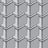 Abstract geometric background with isometric cubes. Seamless vector pattern, geometric background with isometric cubes, monochrome 3d repeating texture Royalty Free Stock Photo