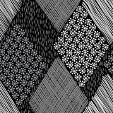 Abstract geometric background. Monochrome hand-drawn seamless pa Stock Image