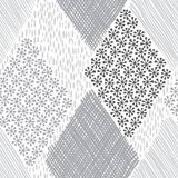 Abstract geometric background. Monochrome hand-drawn seamless pa Royalty Free Stock Images