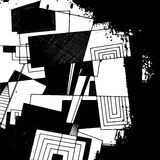 Abstract geometric background, monochrome ink drawing Royalty Free Stock Photos