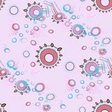 Seamless concentric circles pattern pink violet purple and turquoise overlaying and blurred. Abstract geometric background multicolored. Seamless concentric stock illustration