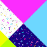 Abstract geometric background, neon memphis style. Abstract geometric background, different geometric shapes - triangles, circles, dots, lines. Memphis style Stock Image