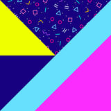 Abstract geometric background, neon memphis style. Abstract geometric background, different geometric shapes - triangles, circles, dots, lines. Memphis style Stock Photography