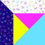 Abstract geometric background, neon memphis style. Abstract geometric background, different geometric shapes - triangles, circles, dots, lines. Memphis style Royalty Free Stock Photo