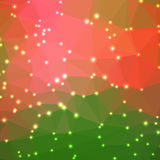 Abstract geometric background. Abstract geometric orange and green background consisting of colored triangles with lights in corners. Low poly square format Stock Image