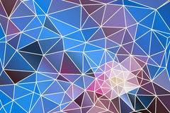 Abstract geometric background. Pink and blue abstract geometric background consisting of colored triangles and light mesh stock illustration