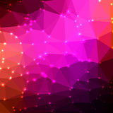 Abstract geometric background. Abstract geometric pink background consisting of colored triangles with lights in corners. Low poly square format pattern Stock Photos
