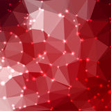 Abstract geometric background. Abstract red geometric background consisting of colored triangles with lights in corners. Low poly square format pattern Royalty Free Stock Image