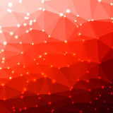 Abstract geometric background. Abstract red geometric background consisting of colored triangles with lights in corners. Low poly square format pattern Stock Image