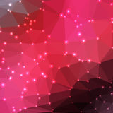 Abstract geometric background. Abstract geometric red background consisting of colored triangles with lights in corners. Low poly square format pattern Stock Images