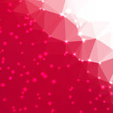 Abstract geometric background. Abstract geometric red background consisting of colored triangles with lights in corners. Low poly square format pattern Stock Photos