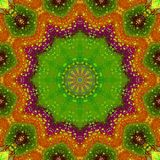 Regular round floral ornament bright green purple orange yellow centered Stock Images