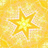Regular star ornament yellow orange white pink centered. Abstract geometric background. Regular star ornament yellow, orange, white and pink centered Royalty Free Stock Photography