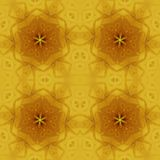 Regular star ornaments gold and ocher on yellow. Abstract geometric background. Regular star ornaments gold and ocher on yellow, ornate and dreamy Royalty Free Stock Images