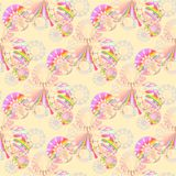 Seamless regular floral pattern beige pink violet. Abstract geometric background, seamless circles pattern in pink shades with multicolored elements on peach vector illustration