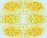 Seamless delicate ornamental pattern yellow white. Abstract geometric background, seamless floral laces pattern in amber and yellow shades on white, circles and stock illustration