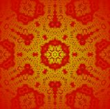 Seamless ornaments red gold. Abstract geometric background, seamless hexagon and circles pattern gold and red, centered and blurred, christmas decoration Royalty Free Stock Image
