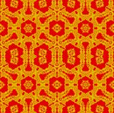 Seamless ornate ornaments gold and red Stock Images