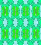 Seamless regular oval pattern green blue gray. Abstract geometric background, seamless net-like ellipses and diamond pattern, hole pattern in bright green and Royalty Free Stock Photography