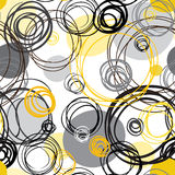 Abstract geometric background. Seamless pattern. Abstract geometric background. Black yellow white hand drawn intersecting outline circles in white background Royalty Free Stock Photos