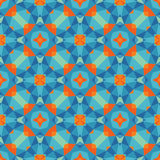 Abstract geometric background - seamless vector pattern in blue and orange colors. Ethnic boho style. Mosaic ornament structure. Royalty Free Stock Photography
