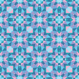 Abstract geometric background - seamless vector pattern in blue and pink colors. Ethnic boho style. Mosaic ornament structure. Carpet fragment Stock Photography