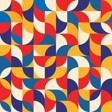Abstract geometric background - seamless vector pattern illustration in blue, red and yellow colors. Mosaic ornament structure.  Royalty Free Stock Image