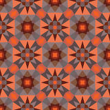 Abstract geometric background - seamless vector pattern in orange and brown colors. Ethnic boho style. Mosaic ornament structure Stock Image