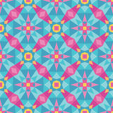 Abstract geometric background - seamless vector pattern in pink and blue colors. Ethnic boho style. Mosaic ornament structure. Carpet fragment Stock Image