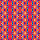 Abstract geometric background - seamless vector pattern in red, oink and blue colors. Ethnic boho style. Mosaic ornament structure Royalty Free Stock Photography