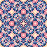 Abstract geometric background - seamless vector pattern in violet, pink, lilac and blue colors. Ethnic boho style. Stock Images