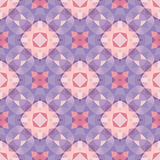 Abstract geometric background - seamless vector pattern in violet, pink and lilac colors. Ethnic boho style. Mosaic ornament. Stock Photo